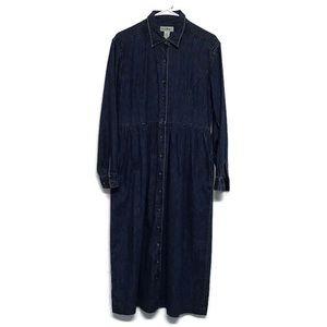 LL Bean Womens Maxi Modest Dress Pockets Denim